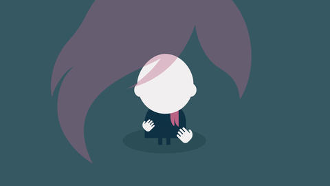 animation of an emo girl with pink hair appearing on screen in parts both eyes pop up turning around Animation