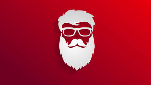 white stencil with shade giving 3d effect over red scene of a warm beard millennial wearing Animation