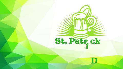 st patricks day with a green brew over pointed sun rays using celtic offset garnished with 3d three Animation