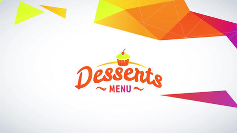 relaxed pastry list with an abstraction arc formed with 3d fluorescent triangles tearing apart and a Animation