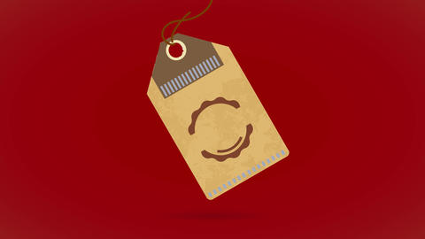 quality coffee product corporate identity in the form of a clothing cardboard tag loose on a white Animation