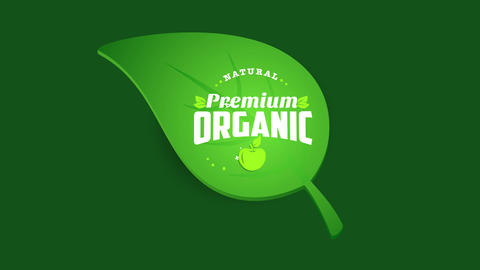 label for bio organic eco natural products put on a green leaf using old fashion typography Animation