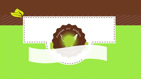 adjustable poster for natural organic food divided in three parts and a stamp in the middle with Animation