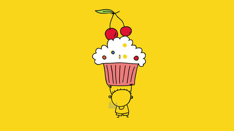 lovable draw of a satisfied mini youth gripping a huge appealing cupcake over his head with lines Animation