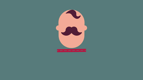 animation of an old timey boxer with a handlebar mustache appearing in the center of the screen Animation