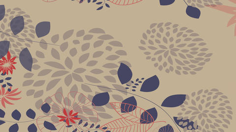 soft autumn design animation with blue and red flowers of various types tones and forms some Animation