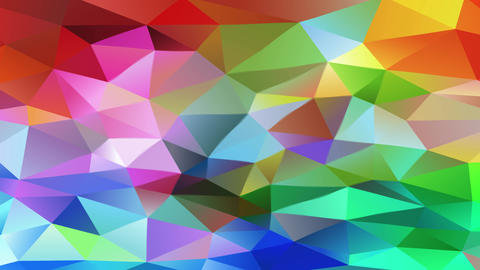 multicolored polygon patchwork with small 3d triangles creating a bright geometric mosaic like a Animation