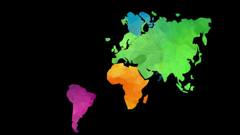 genuine world chart concept science designed with each continent painted with unique thick vibrant Animation