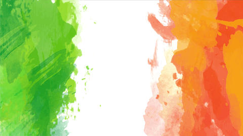 green and orange watercolor stripes spread carelessly like a kid painting forming a creative irish Animation