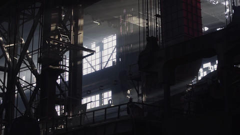 Industrial Factory Equipment Inside of old factory. Structure interior of Live Action