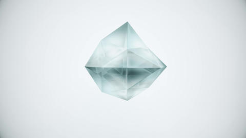 Abstract backdrop with dim grey-blue polyhedron gem arbitrarily transforming on Live Action