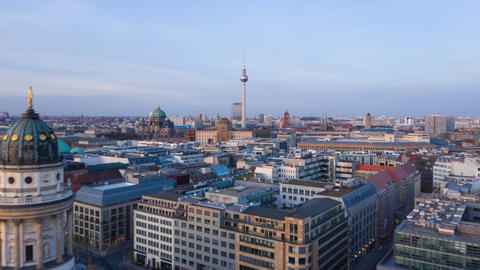 AERIAL: Beautiful Daylight Drone Hyper Lapse, Motion Time Lapse over Berlin with Live Action