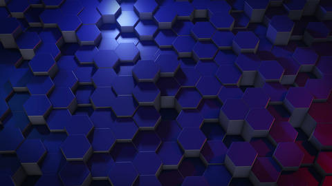 An abstract hexagonal geometric surface cyclically moves in virtual space Animation