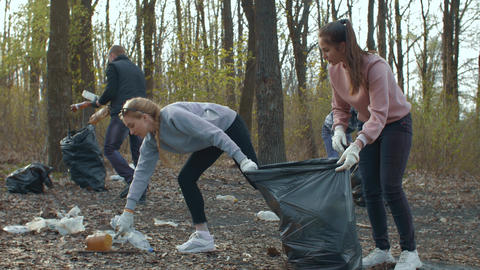 Volunteers collecting garbage in park Live Action