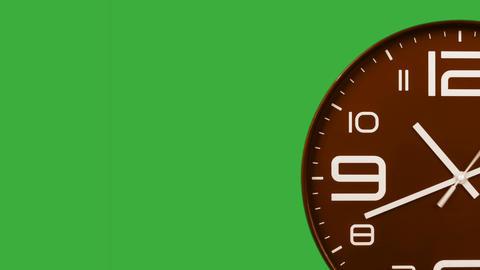 Modern orange clock face moving fast forward transition green screen chroma key background CG動画