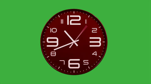 Modern red clock face moving fast forward timelapse green screen chroma key Animation