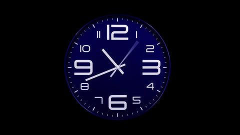 Modern blue clock face moving fast forward alpha channel Animation