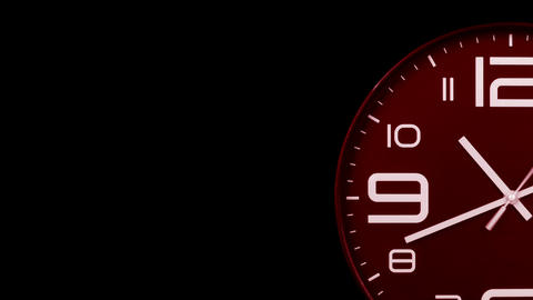 Modern red clock face moving fast forward transition alpha channel Animation