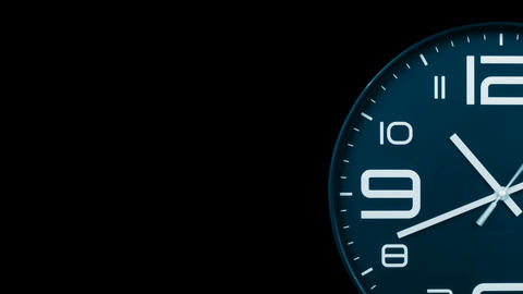 Modern light blue clock face moving fast forward transition alpha channel Animation