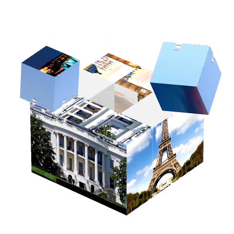 The photocube is collected in pieces and rotates in a circle. 3d animation Animation
