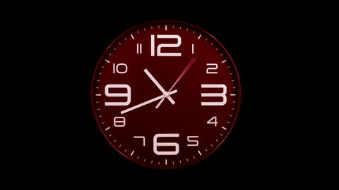 Modern red clock face moving fast forward alpha channel Animation