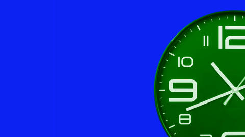 Modern green clock face moving fast forward transition blue screen chroma key background Animation