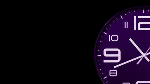 Modern purple clock face moving fast forward transition alpha channel Animation