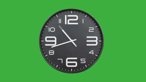 Modern silver clock face moving fast forward timelapse green screen chroma key Animation