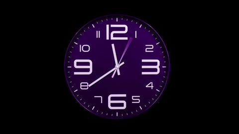Modern purple clock face moving fast forward alpha channel Animation