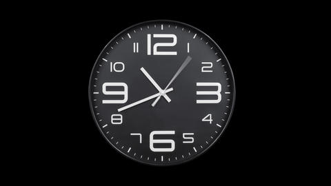 Modern silver clock face moving fast forward alpha channel Animation