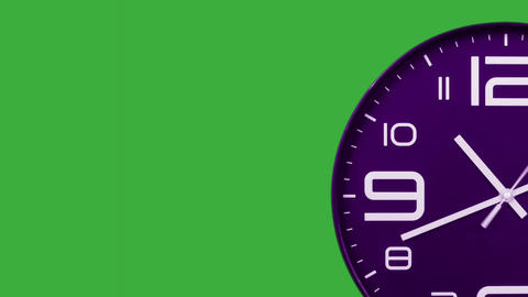Modern purple clock face moving fast forward transition green screen chroma key background Animation