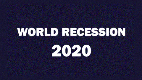 4K. Glitch screen saver with text WORLD RECESSION 2020 for news and Live Action