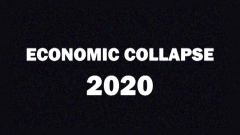 4K. Glitch screen saver with text ECONOMIC COLLAPSE 2020 for news and Live Action