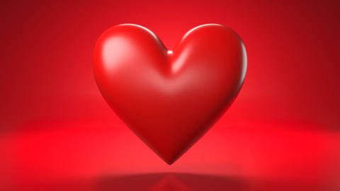 Pulsing red heart shape object on red background Animation