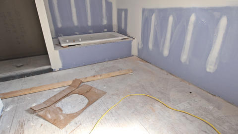 Process for new under construction bathroom interior with interior remodeling Live Action