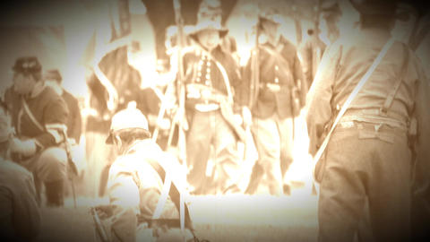 Union Civil War soldiers marching in battle (Archive Footage Version) Live Action