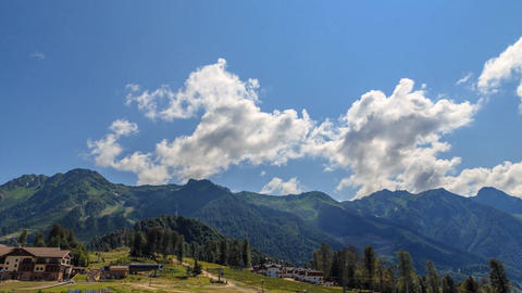 Rosa Khutor Plateau. HDR, Sochi, Russia. Time Lapse Live Action