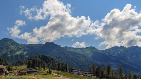 Rosa Khutor Plateau. Panorama. HDR, Sochi, Russia. Time Lapse Live Action