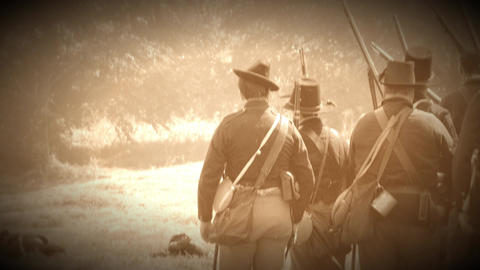Civil War soldiers shooting across battlefield (Archive Footage Version) Live Action