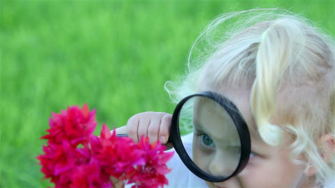 Portrait of a little girl with a magnifying glass and a red flower Footage