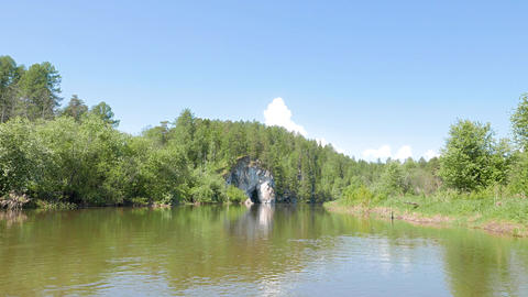The head of a horse drinking. River Serga. Urals, Russia Footage