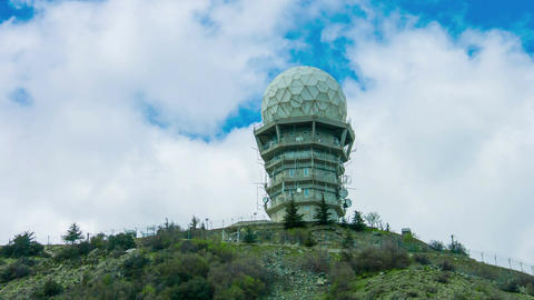 Satellite aerials on secret research laboratory. Observatory building with dome Footage