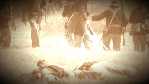 Dead Civil War soldiers on battlefield (Archive Footage Version) Live Action