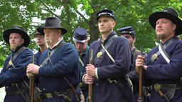 Determined Civil War soldiers in a group Live Action