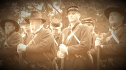 Determined Civil War soldiers in a group (Archive Footage Version) Live Action