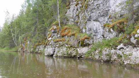 The moss on cliffs, the river Serga, Urals, Russia Footage