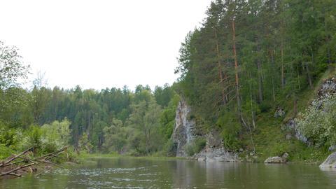 Rocks on the shore. River Serga, Urals, Russia Footage
