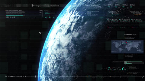 Global Telecommunications Satellite HUD Animation