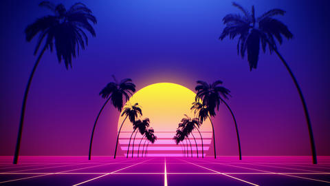 80's retro style background with tropical coconut trees and summer sunset from 3d render looped GIF