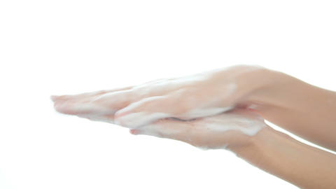 Hand washing rubbing with soap on white background for hygiene to stop spreading coronavirus GIF